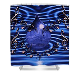 Angelic Sounds On The Waves Shower Curtain