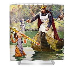 Arthur And Excalibur Shower Curtain by James Edwin McConnell
