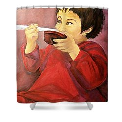 Shower Curtain featuring the painting  Asian  Doll by Sharon Duguay