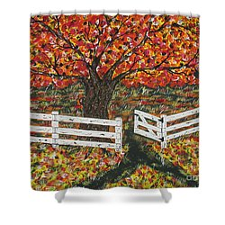 Autumn At The White Fence Farm Shower Curtain by Jeffrey Koss