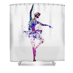 Ballerina Dancing Watercolor 2 Shower Curtain by Naxart Studio