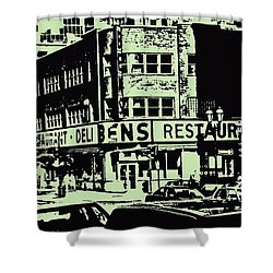 Ben's Resto Delicatessan Lunchtime Crowds And Traffic Jams Vintage Montreal Memorabilia Shower Curtain by Carole Spandau