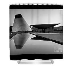 Shower Curtain featuring the photograph  Black And White Mog Reflections  by Chris Anderson