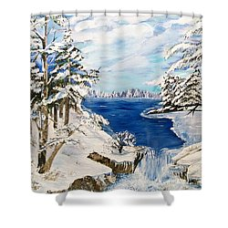 Shower Curtain featuring the painting  Blanket Of Ice by Sharon Duguay