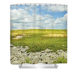 Blueberry Field With Blue Sky And Clouds In Maine Shower Curtain by Keith Webber Jr