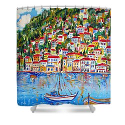 Boats Down South Italy Coast  Shower Curtain