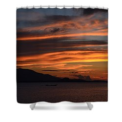 Burning Sky Shower Curtain by Michelle Meenawong