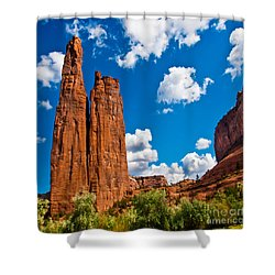 Canyon De Chelly Spider Rock Shower Curtain by Bob and Nadine Johnston