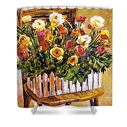 Chair Of Flowers Shower Curtain by David Lloyd Glover