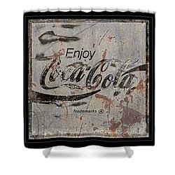 Coca Cola Sign Grungy Retro Style Shower Curtain by John Stephens