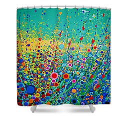 Colorful Flowerscape Shower Curtain by Maja Sokolowska