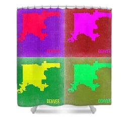 Denver Pop Art Map 2 Shower Curtain by Naxart Studio