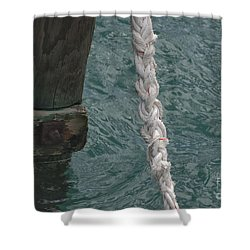 Dock Rope And Wood Shower Curtain