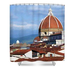 Shower Curtain featuring the photograph  Duomo Of Florence # 3 by Allen Beatty