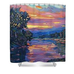 Dusk River Shower Curtain by David Lloyd Glover