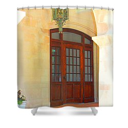 Shower Curtain featuring the photograph  Elegant Arched Entrance by Judy Palkimas