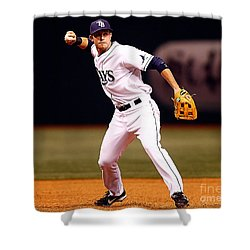 Shower Curtain featuring the photograph  Evan Longoria by Marvin Blaine