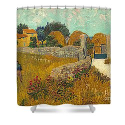 Farmhouse In Provence Shower Curtain by Vincent van Gogh