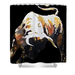 Fight Bull In Black Shower Curtain