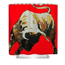 Fight Bull In Red Shower Curtain