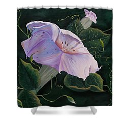Shower Curtain featuring the painting  First  Trumpet Flower  Of Summer by Sharon Duguay