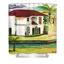 Shower Curtain featuring the painting  Fort Lauderdale Waterway by Bernadette Krupa