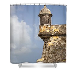 Fortified Walls And Sentry Box Of Fort San Felipe Del Morro Shower Curtain