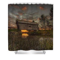 Foster Covered Bridge Sunset Shower Curtain