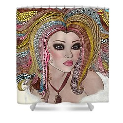 Girl With The Rainbow Hair Shower Curtain