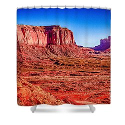 Golden Hour Sunrise In Monument Valley Shower Curtain by Bob and Nadine Johnston