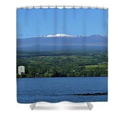 Hawaii's Snow Above Hilo Bay Hawaii Shower Curtain