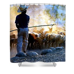 Herder Going Home In Mexico Shower Curtain by Phyllis Kaltenbach