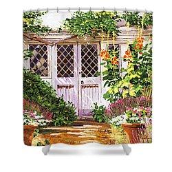 Hollyhock Gardens Shower Curtain by David Lloyd Glover