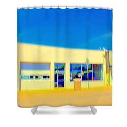 Shower Curtain featuring the mixed media   Hopper Garage by Terence Morrissey