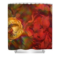 Shower Curtain featuring the photograph  Impressionistic Bouquet Of Red Flowers by Dora Sofia Caputo Photographic Art and Design