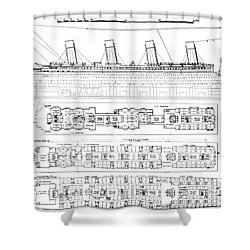 Inquiry Into The Loss Of The Titanic Cross Sections Of The Ship  Shower Curtain by English School