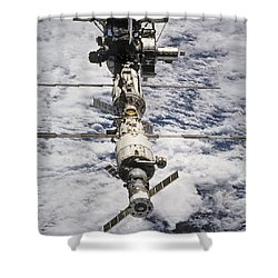 International Space Station Shower Curtain by Anonymous