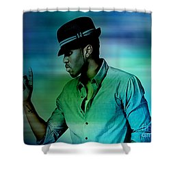 Shower Curtain featuring the mixed media  Jason Derulo by Marvin Blaine