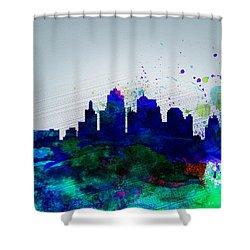 Kansas City Watercolor Skyline Shower Curtain