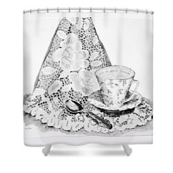 Lace With Cup Shower Curtain