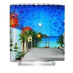 Light House Playa Del Carmen Shower Curtain by Angel Ortiz