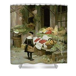 Little Boy At The Market Shower Curtain by Victor Gabriel Gilbert
