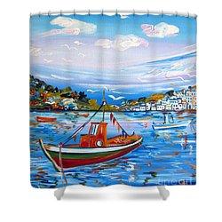 Little Fisherman Boat  Shower Curtain by Roberto Gagliardi