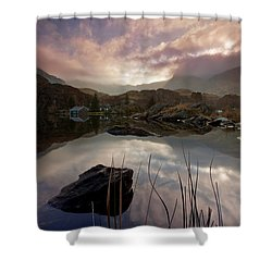 Llyn Ogwen Sunset Shower Curtain by Beverly Cash