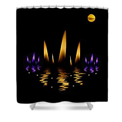 Lotus On Fire In The Dark Night Shower Curtain by Pepita Selles