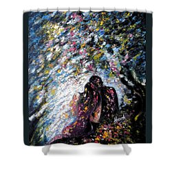Shower Curtain featuring the painting  Love In Niagara Fall by Harsh Malik