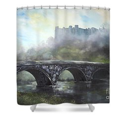Ludlow Castle In A Mist Shower Curtain by Jean Walker