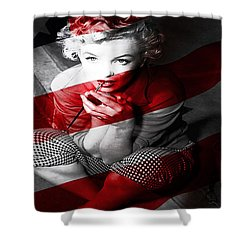 Shower Curtain featuring the mixed media  Marylin Monroe by Marvin Blaine