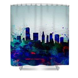 Miami Watercolor Skyline Shower Curtain