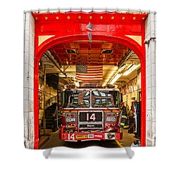 New York Fire Department Engine 14 Shower Curtain by Luciano Mortula